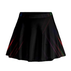 Streaks Line Light Neon Space Rainbow Color Black Mini Flare Skirt