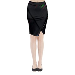 Streaks Line Light Neon Space Rainbow Color Black Midi Wrap Pencil Skirt