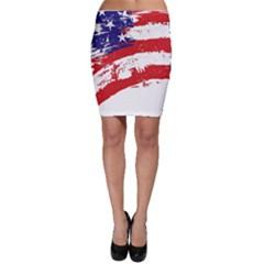 Red White Blue Star Flag Bodycon Skirt