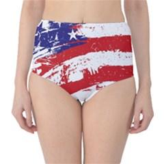 Red White Blue Star Flag High-Waist Bikini Bottoms