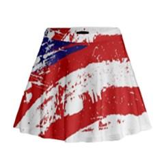 Red White Blue Star Flag Mini Flare Skirt
