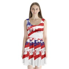 Red White Blue Star Flag Split Back Mini Dress