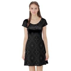 Star Black Short Sleeve Skater Dress