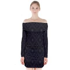 Star Black Long Sleeve Off Shoulder Dress