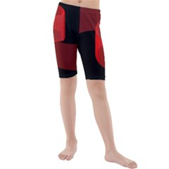 Tape Strip Red Black Amoled Wave Waves Chevron Kids  Mid Length Swim Shorts