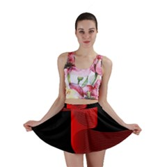 Tape Strip Red Black Amoled Wave Waves Chevron Mini Skirt