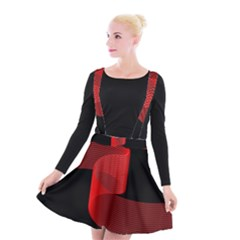 Tape Strip Red Black Amoled Wave Waves Chevron Suspender Skater Skirt