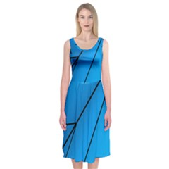 Technical Line Blue Black Midi Sleeveless Dress