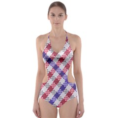 Webbing Wicker Art Red Bluw White Cut-Out One Piece Swimsuit