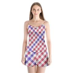 Webbing Wicker Art Red Bluw White Satin Pajamas Set