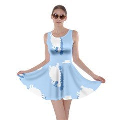 Vector Sheep Clouds Background Skater Dress