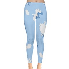 Vector Sheep Clouds Background Leggings