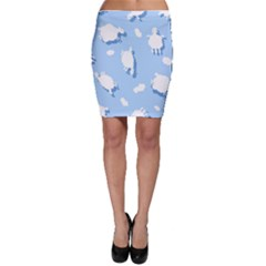 Vector Sheep Clouds Background Bodycon Skirt