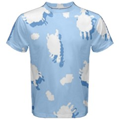Vector Sheep Clouds Background Men s Cotton Tee