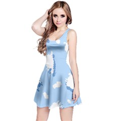 Vector Sheep Clouds Background Reversible Sleeveless Dress