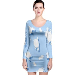 Vector Sheep Clouds Background Long Sleeve Bodycon Dress