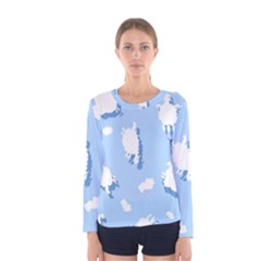 Vector Sheep Clouds Background Women s Long Sleeve Tee