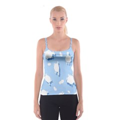 Vector Sheep Clouds Background Spaghetti Strap Top