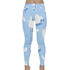 Vector Sheep Clouds Background Classic Yoga Leggings
