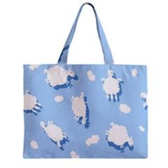 Vector Sheep Clouds Background Zipper Mini Tote Bag