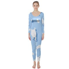 Vector Sheep Clouds Background Long Sleeve Catsuit
