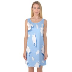 Vector Sheep Clouds Background Sleeveless Satin Nightdress