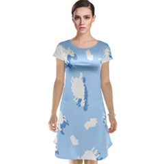 Vector Sheep Clouds Background Cap Sleeve Nightdress