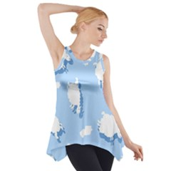Vector Sheep Clouds Background Side Drop Tank Tunic