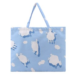 Vector Sheep Clouds Background Zipper Large Tote Bag