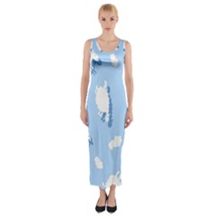 Vector Sheep Clouds Background Fitted Maxi Dress