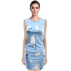 Vector Sheep Clouds Background Classic Sleeveless Midi Dress