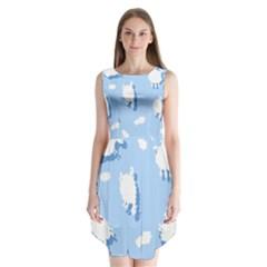 Vector Sheep Clouds Background Sleeveless Chiffon Dress