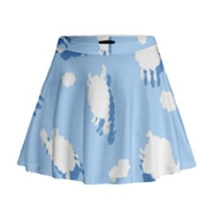 Vector Sheep Clouds Background Mini Flare Skirt