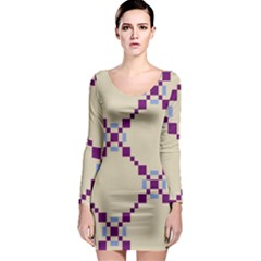 Pattern Background Vector Seamless Long Sleeve Bodycon Dress