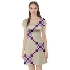 Pattern Background Vector Seamless Short Sleeve Skater Dress