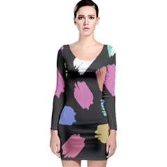 Many Colors Pattern Seamless Long Sleeve Bodycon Dress