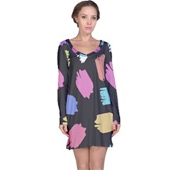 Many Colors Pattern Seamless Long Sleeve Nightdress