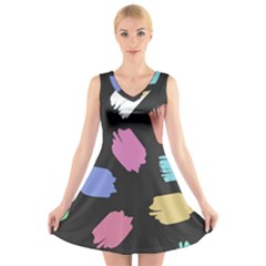 Many Colors Pattern Seamless V Neck Sleeveless Skater Dress