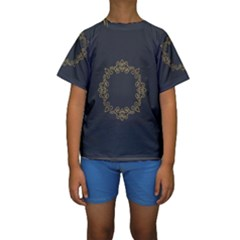 Monogram Vector Logo Round Kids  Short Sleeve Swimwear