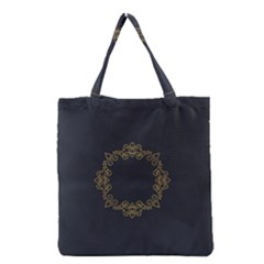 Monogram Vector Logo Round Grocery Tote Bag