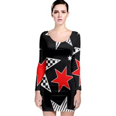 Stars Seamless Pattern Background Long Sleeve Bodycon Dress