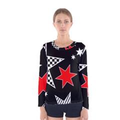 Stars Seamless Pattern Background Women s Long Sleeve Tee