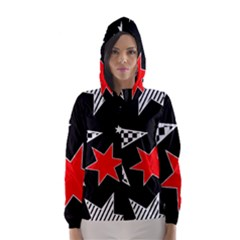 Stars Seamless Pattern Background Hooded Wind Breaker (women)