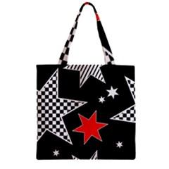 Stars Seamless Pattern Background Zipper Grocery Tote Bag