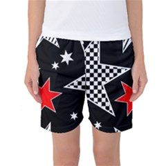 Stars Seamless Pattern Background Women s Basketball Shorts