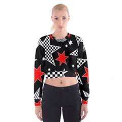 Stars Seamless Pattern Background Cropped Sweatshirt