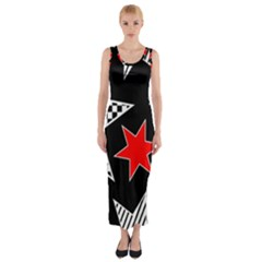 Stars Seamless Pattern Background Fitted Maxi Dress