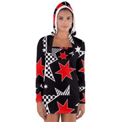 Stars Seamless Pattern Background Women s Long Sleeve Hooded T-shirt