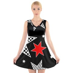 Stars Seamless Pattern Background V-Neck Sleeveless Skater Dress