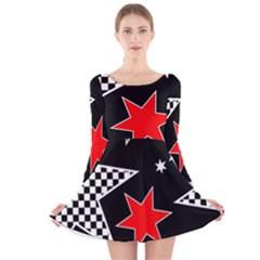 Stars Seamless Pattern Background Long Sleeve Velvet Skater Dress